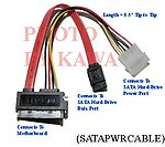 1x SATAPWRCABLE SATA I/II DATA & POWER CABLE ADAPTER COMBO FOR HDD
